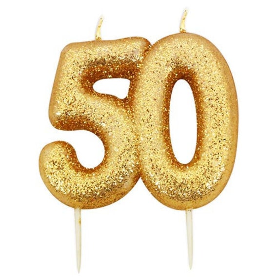 50th Birthday Candle Gold Glitter 50 Age