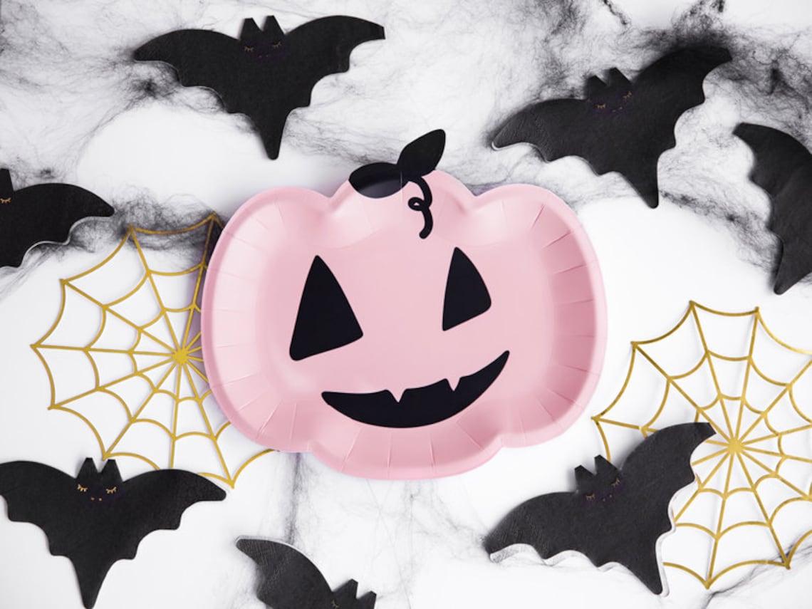 Halloween Paper Plates Pink Halloween Plates Pastel image 0