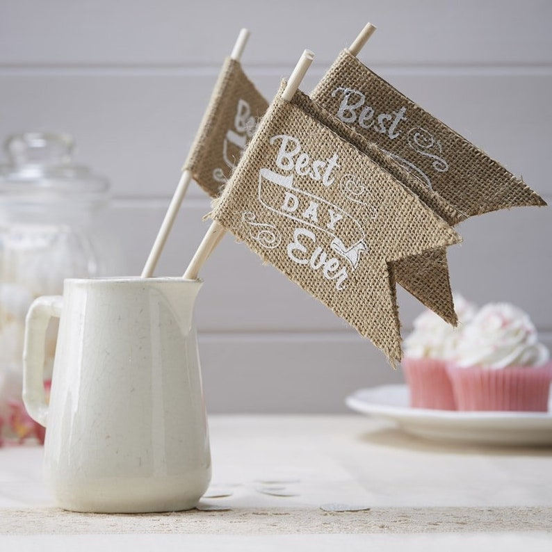 10 Best Day Ever Wedding Table Flags Hessian Flags Kraft Etsy