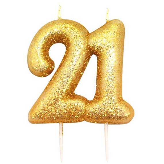 21st Birthday Candle Gold Glitter 21 Age