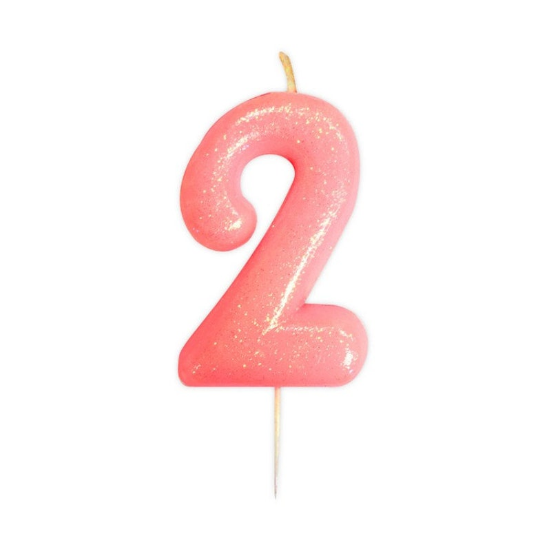 Number 2 Pink Glitter Candle Age Candles