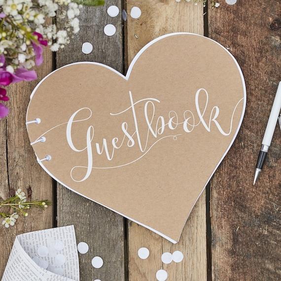 Rustic Wedding Guest Book | Kraft Heart Shape Wedding Guest Book Rustic Wedding Vintage Etsy