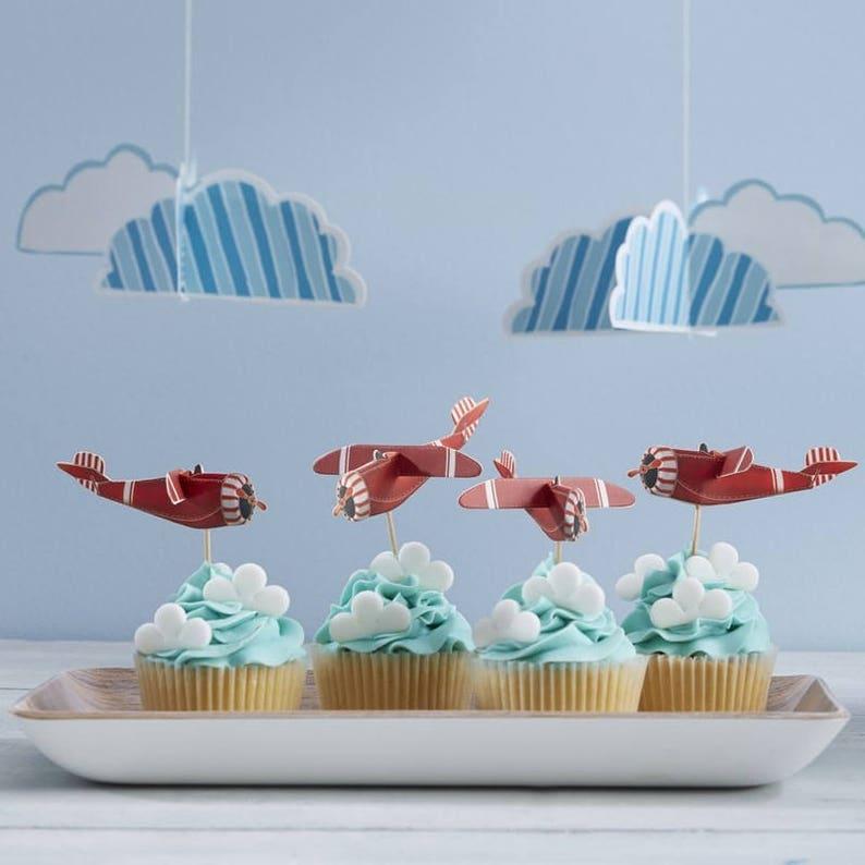 Aeroplane Cupcake Toppers Cake Decoration Birthday