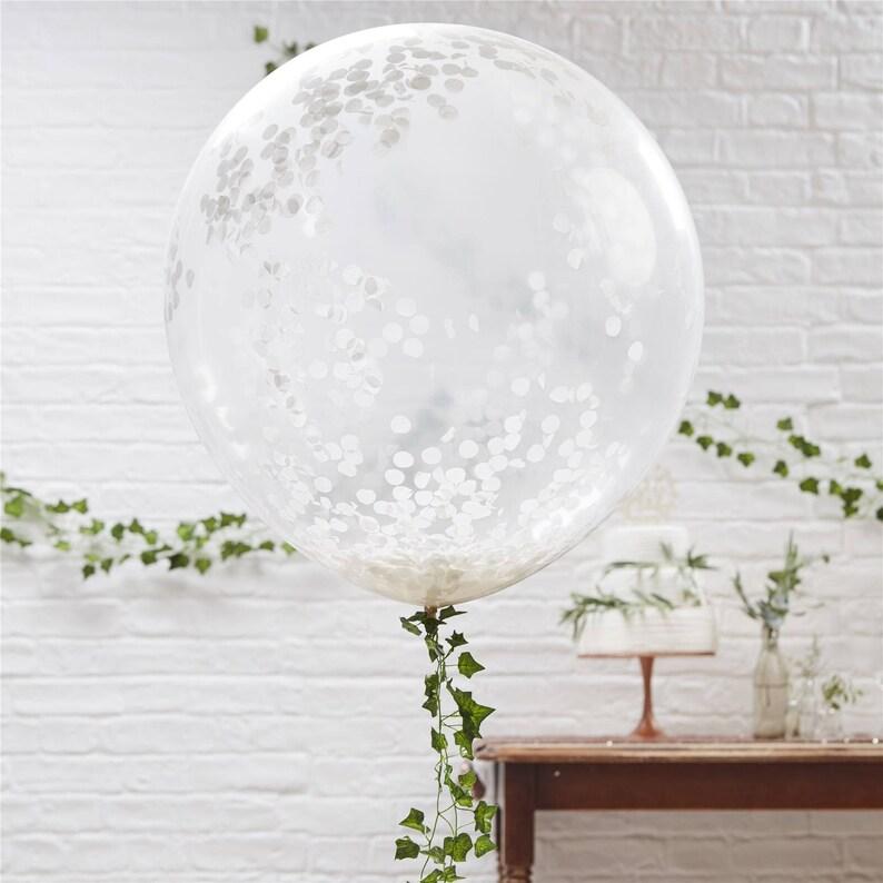 3 Large White Confetti Balloons Wedding Balloons Engagement image 0