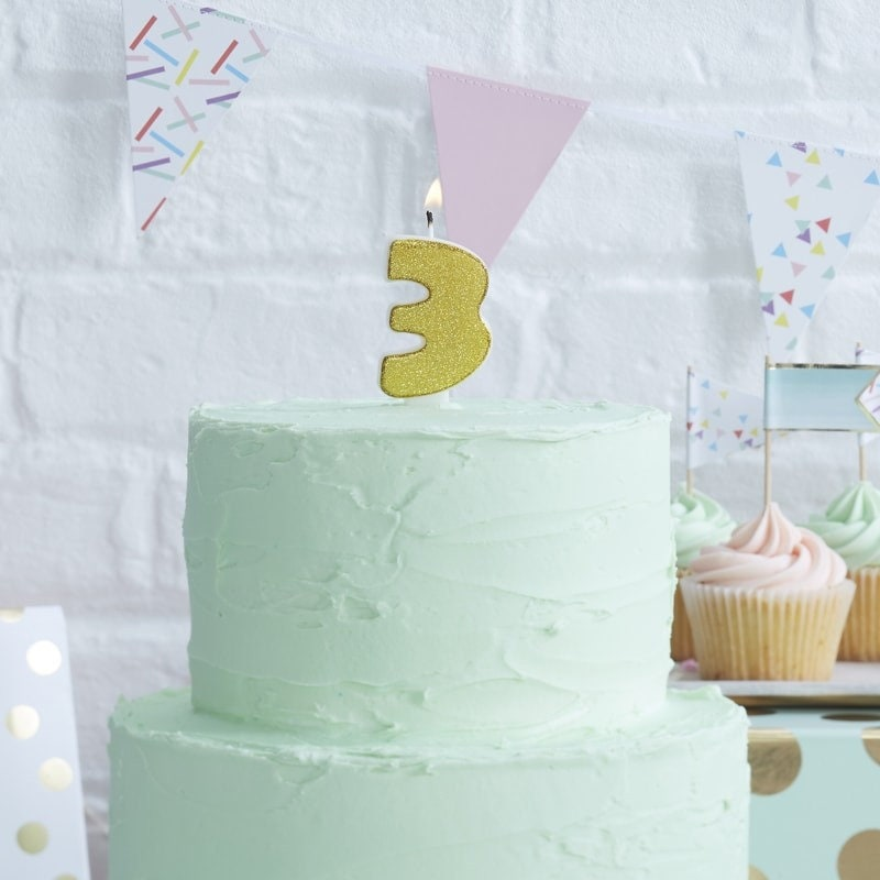 Number 3 Gold Glitter Candle Age Candles Birthday Cake