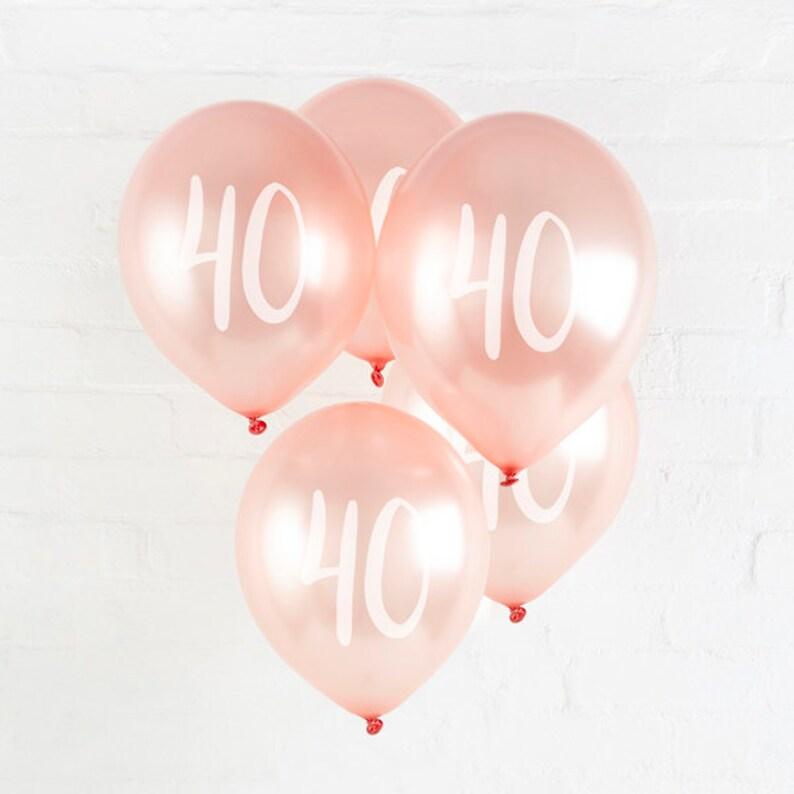 5 Rose Gold 40th Birthday Balloons