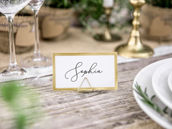 10 Gold Metal Place Card Holder Stand Place Card Holder Botanical Wedding Wedding Centrepiece Place Name Stand Gold Wedding Decor
