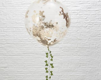3 Large Rose Gold Confetti Balloons, Wedding Balloons, Engagement Balloons, Baby Shower Balloons, Bridal Shower, Hen Party, Bachelorette
