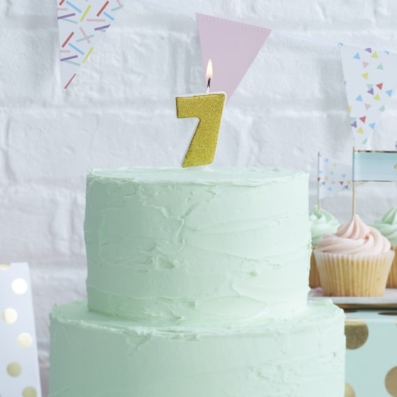 Number 7 Gold Glitter Candle Age Candles Birthday Cake