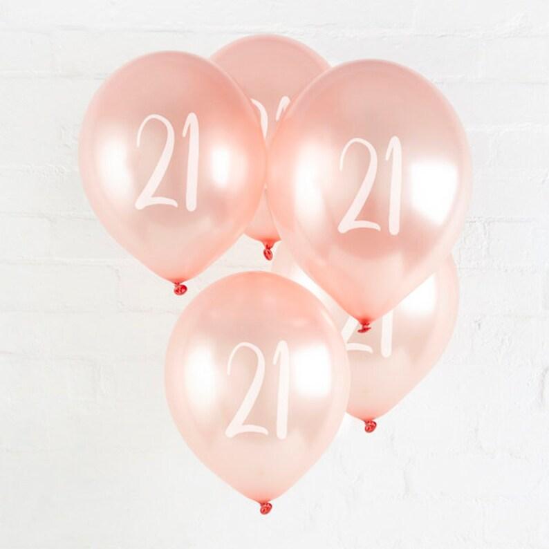 5 Rose Gold 21st Birthday Balloons