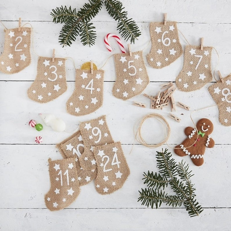 Hessian Burlap Stockings fill your own Advent Calendar DIY image 0