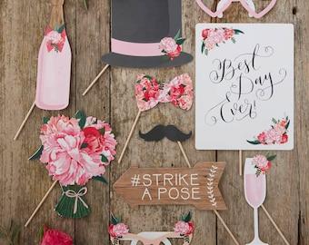 Boho Wedding Photo Props, Selfie Props, Wedding Selfie, Table Photo Props, Rustic Photo Props, Best Day Ever, Photo Booth Props, DIY Photo