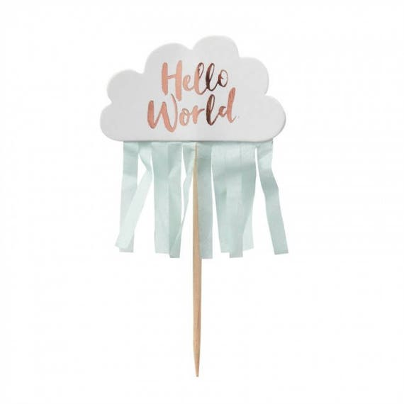 Hello World Baby Shower CAKE TOPPERS Rose Gold Mint Green x 10