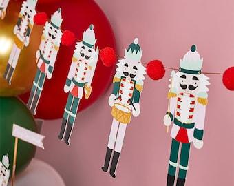 Nutcracker Pom Pom Garland, Nutcracker Pom Pom Bunting, Nutcracker Decorations, Christmas Decor, Modern Christmas, Fireplace Decor