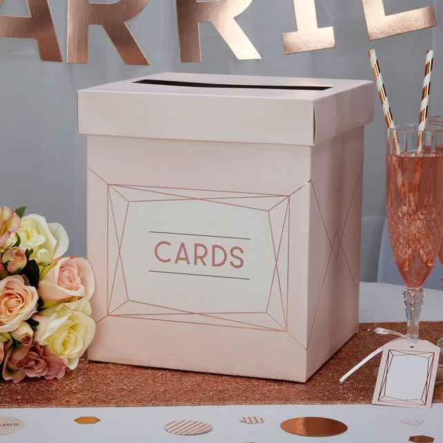 Rose Gold Wedding Post Box, Rose Gold Wedding Card Box, Blush Wedding Post Box, Rose Gold Wedding Decor, Geo Blush