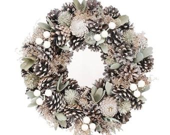 Silver Natural Door Wreath, Christmas Wreath, Christmas Front Door wreath, Traditional Christmas, Christmas Wreath, Berry Wreath