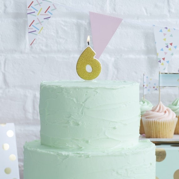 Number 6 Gold Glitter Candle Age Candles Birthday Cake 6th
