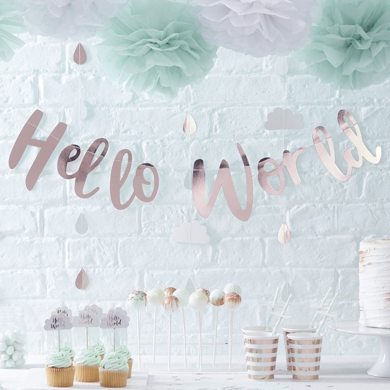 Baby Shower Hello World Paper Straws Stripe Cloud Paper Party Straws New Arrival Party Straws Gender Reveal Decor mint green straws