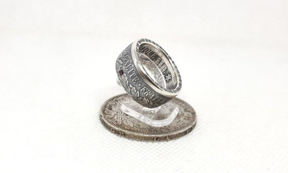 Set Ring coin 5 and 5 Franks Napoleon III silver set with a ruby ring corner