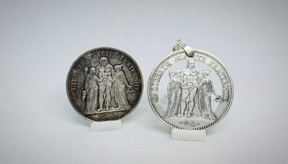 Coin pendant 10 Francs Turin in hand-cut silver