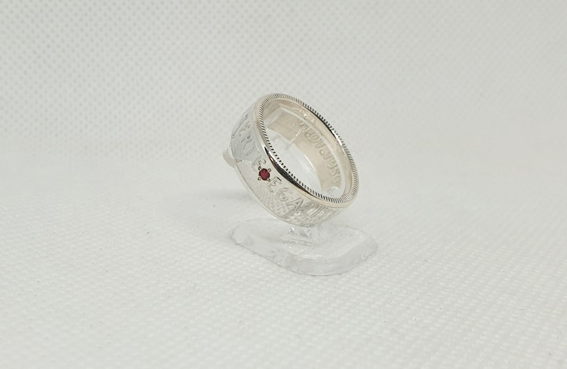 ring corner Ring coin 2 Francs Semeuse silver ring style with engraving set with a ruby