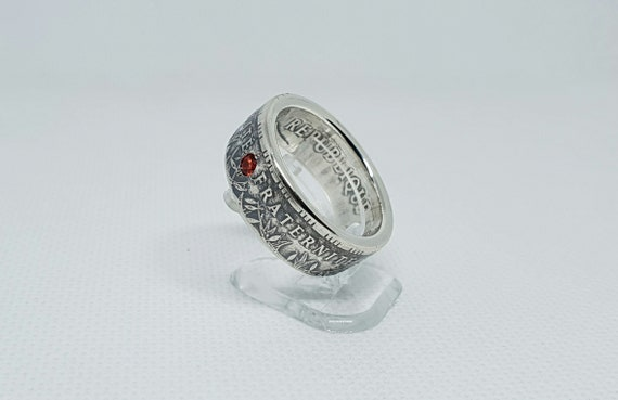 coin ring Ring Panth\u00e9on 100 Francs coin Silver