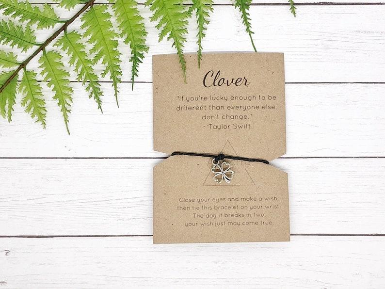 Four Leaf Clover Wish Bracelet | Hemp Bracelet | Simple Bracelet | Everyday  Bracelet | String Bracelet for Women | Natural Jewelry | Gift