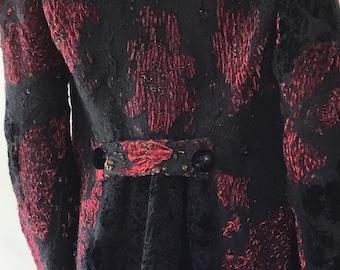 Nuno felt coat with raw fleece felted collar