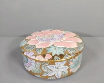 Toyo Trinket Box Lavender Trinket Box Porcelain Trinket Box