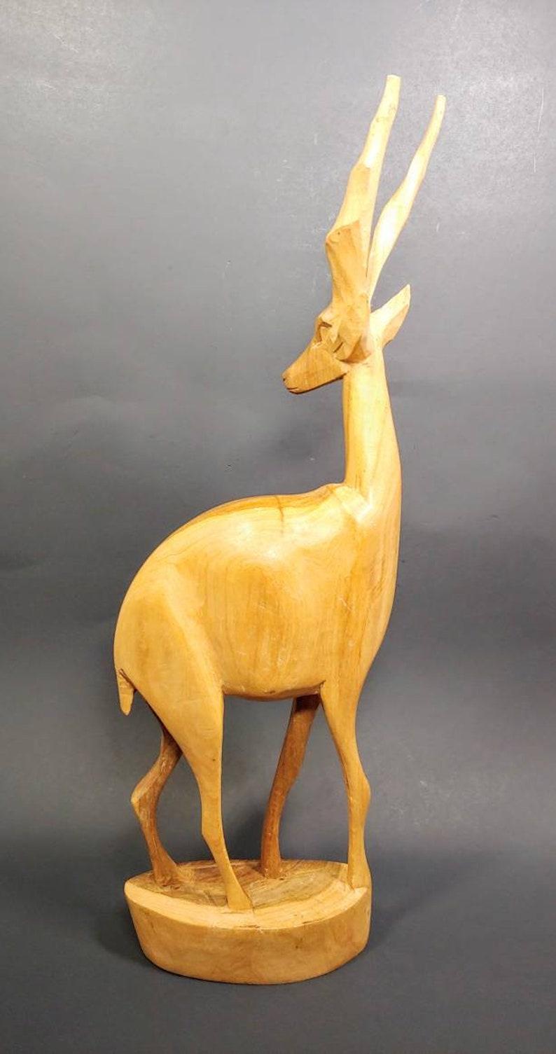 Vintage Wooden Antelope Figurine