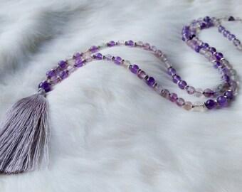 Chasing Dreams Mala // Fluorite + Amethyst // Handmade // Bohemian // Meditation Necklace