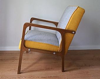 Restauriert Mid Century Sessel Vintage Retro Loft Polnischen  Skandinavischen Fauteuil Design 60er Jahre 70 1970 PRL Patchwork Polster  Dänisch
