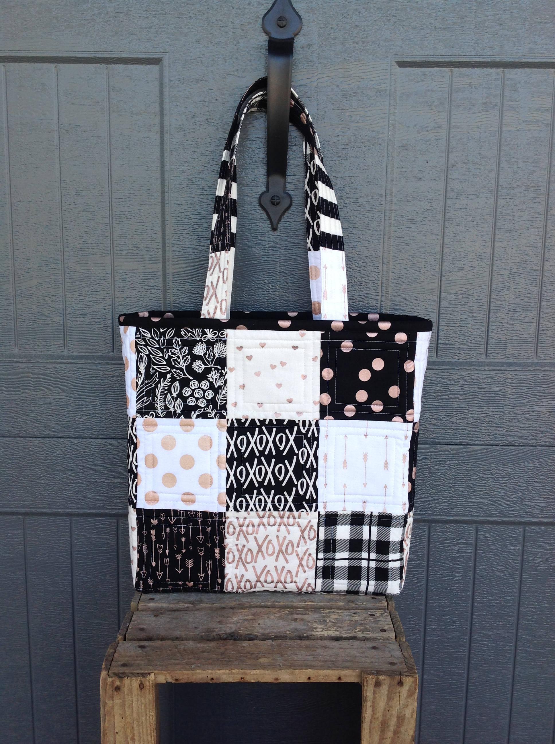ROSE GOLD and Black Tote Bag Patchwork Bag Quilted Handbag