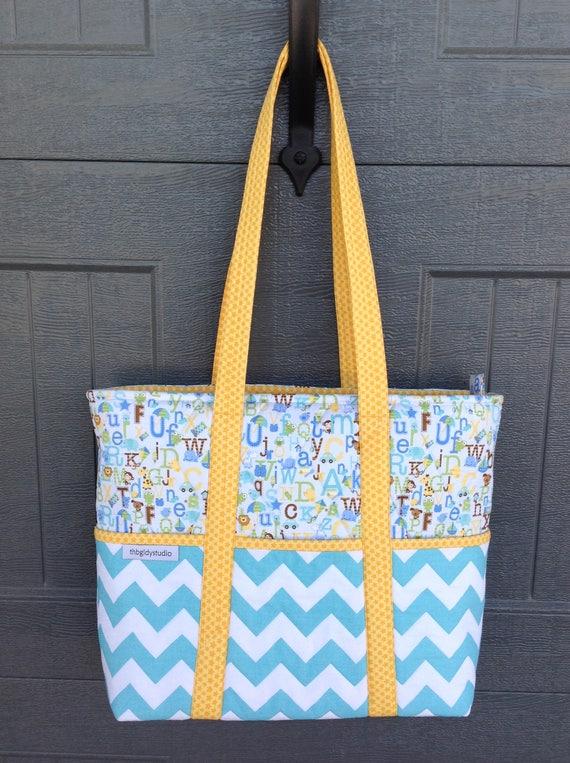 594c394f394b Aqua and Yellow Diaper Bag Boy Diaper Bag Quilted Diaper