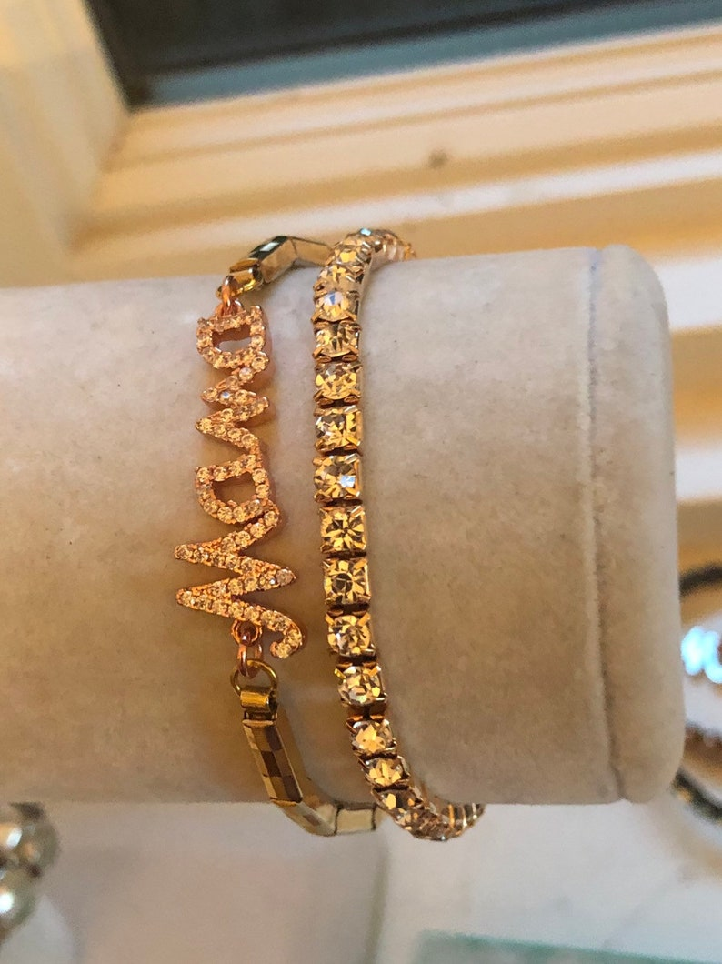 Cubic zirconia encrusted Mama Charm on a Vintage Gold Filled Stretchy Watchband