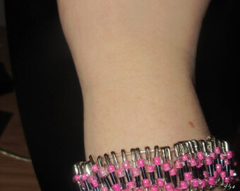 Pink and Black Glass Beaded Safety Pin bracelet