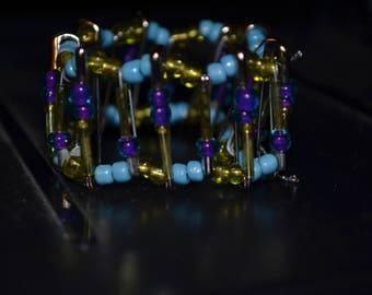 Glass Beaded Safety Pin Bracelet