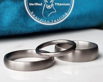 Matte Titanium Wedding Band, 2mm 4mm 5mm 6mm Ring Width. Modern Engraved Minimal Nickel Free Mens Ring