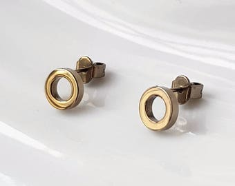 Geometric Titanium earrings Anodised Gold with titanium stud backings. Hypoallergenic titanium studs. Allergy free earring studs