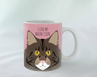I Love my Maine Coon cat breed Mug personalised   Different colours available   Custom name mugs   Cat Mug   Cat gift