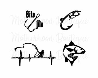 73f92434 Fish decal digital file only svg png jpg cricut silhouette fishing hunting  bass bite me hook fishing heart beat
