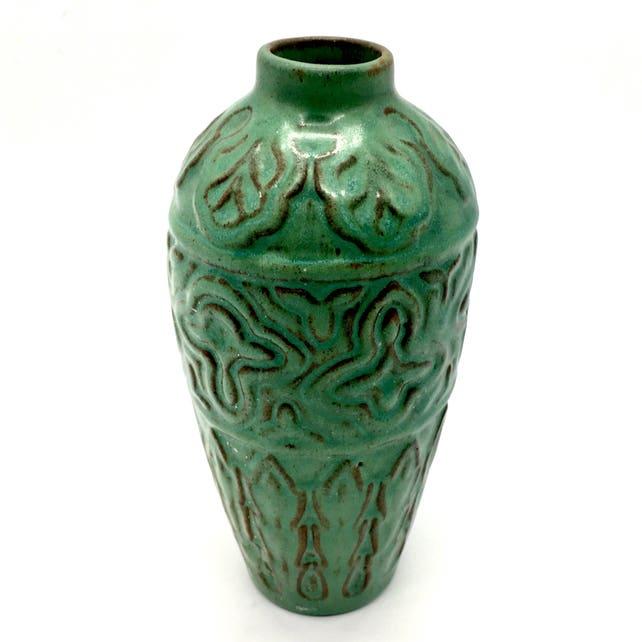 Weller Pottery Vase Green Leaf Wheatley Gruebe 1920s Table Etsy