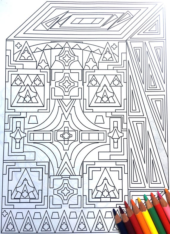 Cuboid Adult Coloring Page Instant Download Shapes And Etsy
