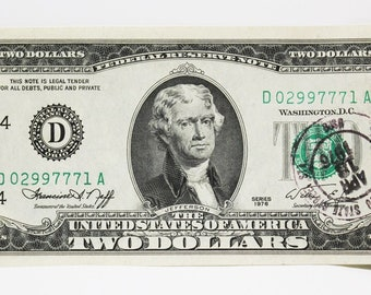 Bicentennial Two Dollar Bill First Day Of Issue April 13 1976 Stamp Uncirculated Uncirc
