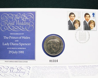 Prince Charles Lady Diana Royal Wedding 1981 First Day Cover Stamps Coin Set  5
