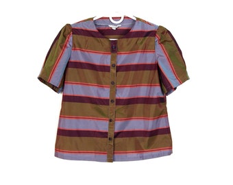 80's Puffy Sleeve Iridescent Striped Blouse