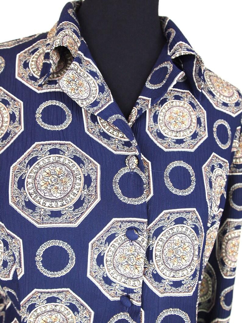 Deep Purple Medallion Print Covered Button Long Sleeve Blouse