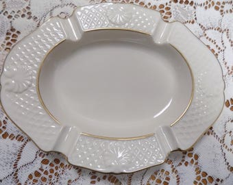 Lenox Fine Porcelian Ash Tray w/ 24k Gold Trim Perfect Never Used