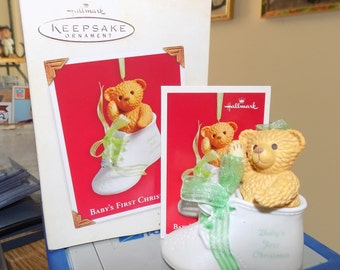 Hallmark Keepsake Ornament of Baby's First Christmas w/ Box and Card See Pic