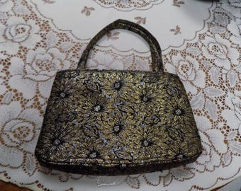 Vintage Womens Hand Bag in Black and Gold Daisy Purse Excellent Condition See Scans Perfect for Black Dress Wear
